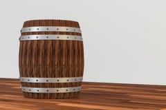 木酿酒厂桶有白色背景,3d翻译 皇族释放例证