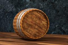 木酿酒厂桶有黑暗的铁锈背景,3d翻译 库存例证