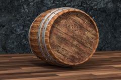 木酿酒厂桶有黑暗的铁锈背景,3d翻译 向量例证
