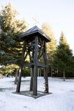 木钟楼在一个正统修道院里在冬天 免版税库存图片