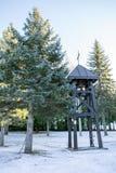 木钟楼在一个正统修道院里在冬天 免版税图库摄影