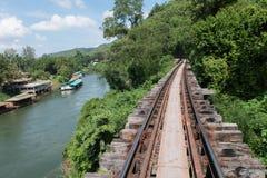 木铁路在森林里 免版税库存照片