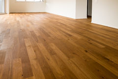 木镶花地板和白色墙壁在一栋新的公寓 库存图片