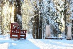 木长凳在冬天 免版税库存照片