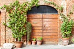 木门和花在托斯卡纳,意大利 图库摄影