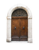 木门在一个老意大利房子里,隔绝在白色背景 免版税库存图片