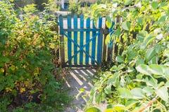 木门在庭院里 库存图片