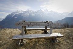 木阿尔卑斯的长凳 免版税库存照片