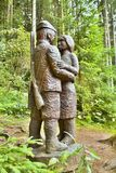 木雕象在一个森林露天博物馆在Vydrovo 免版税库存照片