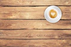 木顶面咖啡 免版税库存图片