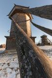 木风车在冬天 苏兹达尔 俄国 库存照片