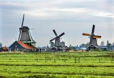 木风车Zaanse Schans村庄荷兰荷兰 库存照片