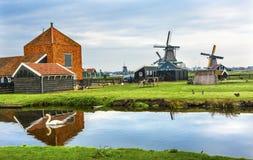 木风车Zaanse Schans村庄荷兰荷兰 免版税库存照片
