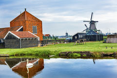 木风车Zaanse Schans村庄荷兰荷兰 免版税库存图片