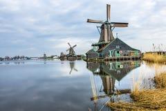木风车Zaanse Schans村庄荷兰荷兰 免版税图库摄影
