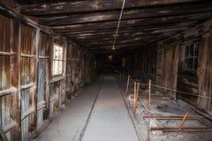 木风雨棚的长的尘土走廊 免版税库存照片