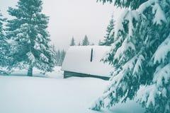 木风雨棚,报道用雪 免版税库存图片