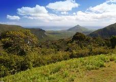 木头、山和海洋的看法。毛里求斯 免版税图库摄影