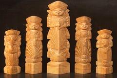 木头做了女神杜尔加,公平印地安的工艺品 免版税库存图片