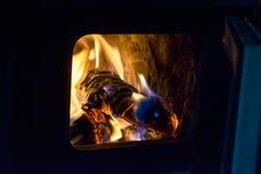 木头和煤炭在火在火炉 库存图片