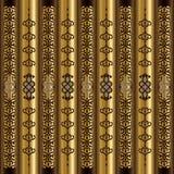 木头和金子垂直的蔓藤花纹主题 图库摄影