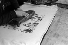 木刻织品打印 库存图片
