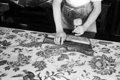 木刻织品打印 免版税库存图片