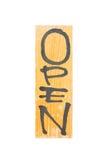 木头开放标志 免版税库存照片