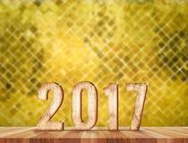 2017木头数字在有闪耀的迷离马赛克的透视屋子里 免版税库存照片