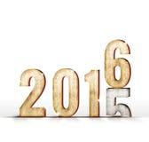 2015木头数字年变化对2016年在白色演播室室上, 免版税图库摄影