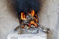 木头烤箱的火  库存照片