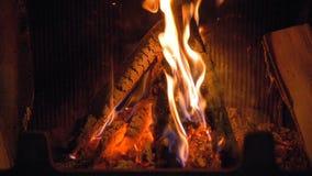 木头烧在壁炉的,慢动作,特写镜头 股票录像