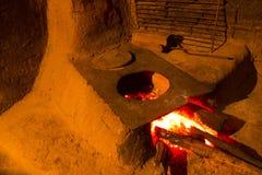 木头燃烧的火炉-巴西东北文化 免版税库存照片