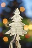 从木头的一棵小圣诞树 库存照片
