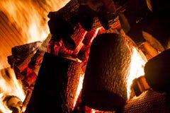 从木头的火在工业火炉 库存照片
