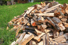 木柴的看法在夏日 免版税库存图片