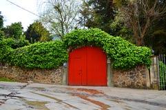 木头的红色门 免版税图库摄影