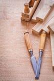 木组织的copyspace木匠业凿子的飞机 库存照片