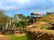 木建筑在Fuere考古学站点  图库摄影