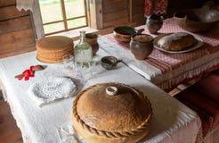 木建筑学Vitoslavlitsy博物馆的内部  图库摄影