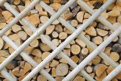 木柴背景在木篱芭后的 免版税库存图片