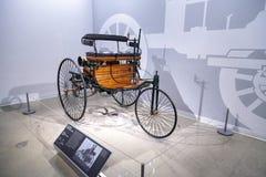木头1886苯专利Motorwagen 免版税图库摄影