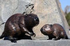木头被雕刻的海狸 免版税库存照片