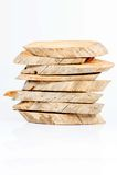 木头裁减在白色背景的排序层数 免版税库存图片