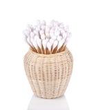 木头,在白色背景隔绝的棉花芽 免版税库存图片