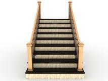 木1个扶手栏杆大理石的楼梯 库存例证