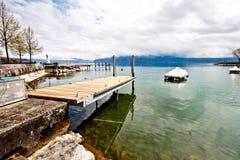 木1个日内瓦湖的码头 免版税库存照片
