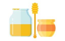 木drizzler玻璃蜂蜜的瓶子 免版税库存照片