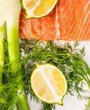 未加工的三文鱼内圆角,茴香,莳萝,柠檬 免版税库存照片