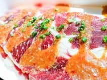 未加工的切片牛肉 库存图片